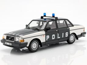 Volvo 240 GL Break police Sweden year 1986 black / white 1:18 Minichamps
