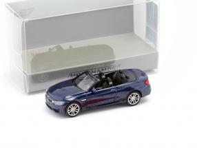 BMW M4 Cabriolet year 2015 blue metallic 1:87 Minichamps