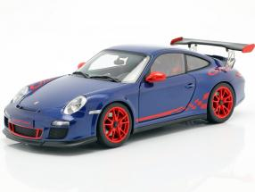 Porsche 911 (997) GT3 RS 3.8 Year 2010 blue metallic / red 1:18 AUTOart