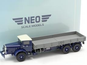 Mercedes-Benz L 10000 platform truck year 1937 dark blue / grey 1:43 Neo