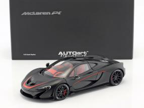 Mclaren P1 Year 2013 matt black / red 1:18 AUTOart