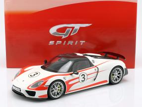 Porsche 918 Spyder #3 Weissach Package white / red 1:12 GT-SPIRIT