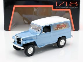 Willys Jeep Station Wagon year 1978 silver blue / white 1:18 Lucky DieCast