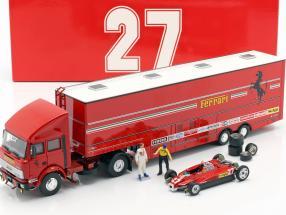 Race Transporter Set Fiat Iveco 190 and Ferrari 126C2 Formula 1 1982 1:43 Brumm