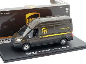 Ford Transit LWB High Roof UPS year 2018 brown / yellow 1:43 Greenlight
