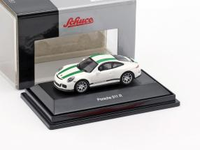 Porsche 911 (991) R year 2016 white with green stripes 1:87 Schuco