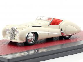 Jaguar SS100 2,5 ltr Roadster Vanden Plas year 1939 cream White 1:43 Matrix