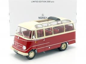 Mercedes-Benz O319 bus Year 1960 red / beige 1:18 Norev