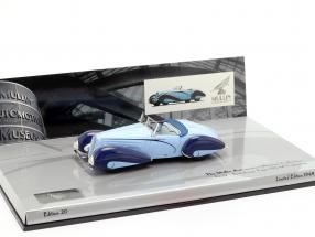 Delahaye Type 135-M Cabriolet Year 1937 light blue / dark blue 1:43 Minichamps