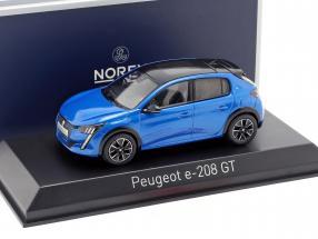 Peugeot e-208 GT Line year 2019 blue 1:43 Norev