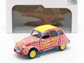 Citroen 2CV6 Cochonou year 1985 red / white / yellow 1:18 Solido