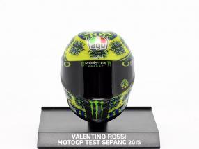 Valentino Rossi Test Sepang MotoGP 2015 AGV helmet 1:10 Minichamps