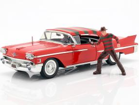 Cadillac Series 62 year 1958 with Freddy Krueger figure red 1:24 Jada Toys