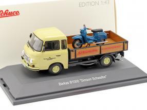 Barkas B1000 Pritschenwagen mit Simson Schwalbe beige / blau 1:43 Schuco