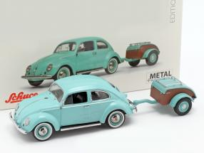Volkswagen VW Beetle Ovali with Westfalia trailer turquoise 1:43 Schuco