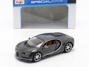 Bugatti Chiron year 2016 grey metallic 1:24 Maisto