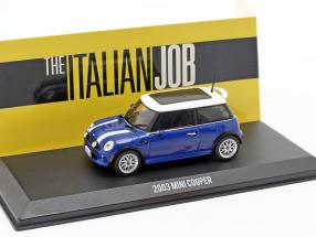 Mini Cooper S year 2003 Movie The Italian Job (2003) blue / White 1:43 Greenlight