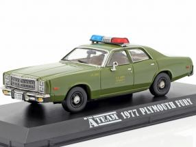 Plymouth Fury 1977 TV series The A-Team (1983-87) army green 1:43 Greenlight