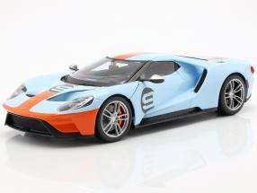 Ford GT Gulf #9 year 2017 light blue / orange 1:18 Maisto