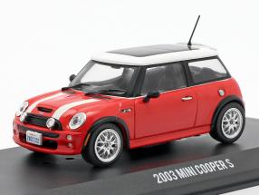 Mini Cooper S year 2003 Movie The Italian Job (2003) red / white 1:43 Greenlight