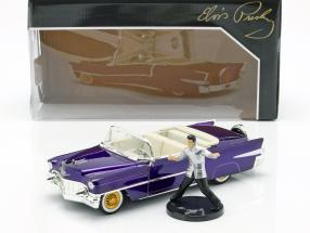 Cadillac Eldorado year 1956 with Elvis Figur dark purple metallic 1:24 Jada Toys