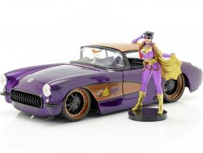 Chevy Corvette year 1957 with Batgirl DC Comics dark purple metallic 1:24 Jada Toys