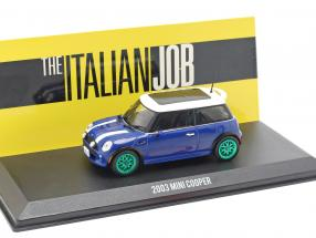 Mini Cooper S year 2003 Film The Italian Job (2003) blue / white / green rims 1:43 Greenlight