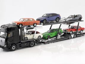 Set Mercedes-Benz Actros with Lohr car transporter black / silver 1:18 NZG
