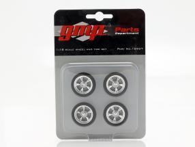 Chrome Custom Wheel and Tire Set 1:18 GMP