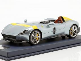 Ferrari Monza SP1 motor Show Paris 2018 grey metallic / yellow with showcase 1:18 LookSmart