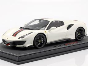 Ferrari 488 Pista Spider Closed Top year 2018 Fuji white 1:18 BBR