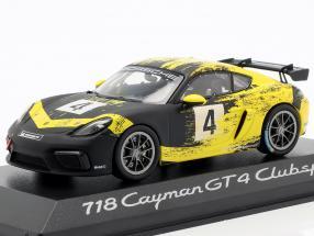Porsche 718 Cayman GT4 Clubsport 2019 #4 yellow / black 1:43 Minichamps