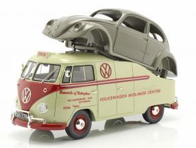 Volkswagen VW T1a Bus with Brezelkäfer body beige / red / Gray 1:18 Schuco