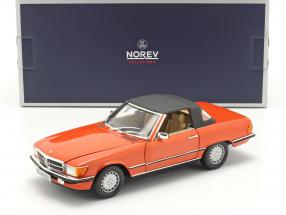 Mercedes Benz 300 SL Cabriolet (R107) year 1986 inca red 1:18 Norev