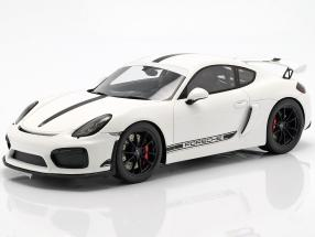 Porsche Cayman GT4 year 2016 white with Showcase 1:18 Spark