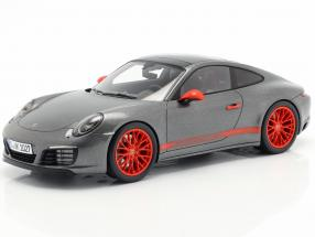 Porsche 911 (991 II) Carrera 4S agate gray metallic with showcase 1:18 Spark