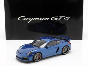Porsche Cayman GT4 with showcase Year 2015 blue 1:18 GT-SPIRIT