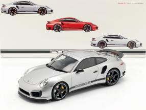 Porsche 911 (991) Turbo S Exclusive GB RHD silver with Showcase 1:18 GT-Spirit