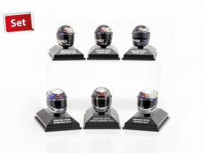 6pcs Set Sebastian Vettel Red Bull helmet Collection 2009-2010 1:8 Minichamps