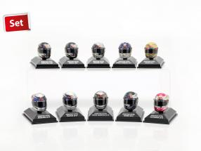 10pcs Set Sebastian Vettel Red Bull helmet Collection 2009-2012 1:8 Minichamps