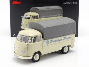 Volkswagen VW T1b platform truck with Plans year 1959-63 beige 1:18 Schuco