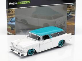 Chevrolet Nomad Construction year 1955 white / turquoise 1:18 Maisto