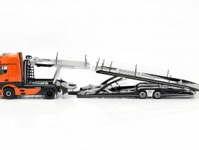 Set Mercedes-Benz Actros mit Lohr Autotransporter orange / silber 1:18 NZG