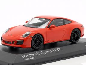 Porsche 911 (991 II) Carrera 4 GTS year 2017 lava orange 1:43 Minichamps
