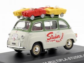 Fiat 600 Multipla van Studer year 1959 green / cream white 1:43 Altaya