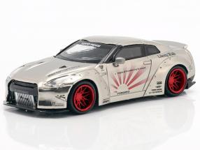 LB Works Nissan GT-R (R35) Type 1 LHD satin silver 1:64 True Scale