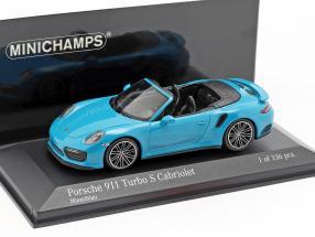 Porsche 911 (991 II) Turbo S Cabriolet year 2016 miami blue 1:43 Minichamps
