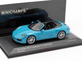 Porsche 911 (991 II) Carrera 4S Cabriolet year 2016 miami blue 1:43 Minichamps