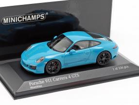 Porsche 911 (991 II) Carrera 4 GTS year 2017 miami blue 1:43 Minichamps