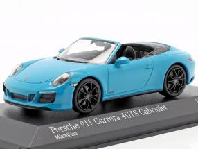Porsche 911 (991 II) Carrera 4 GTS Cabriolet 2016 miami blue 1:43 Minichamps